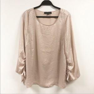 Eloquii Shimmer Ruched Sleeve Blouse